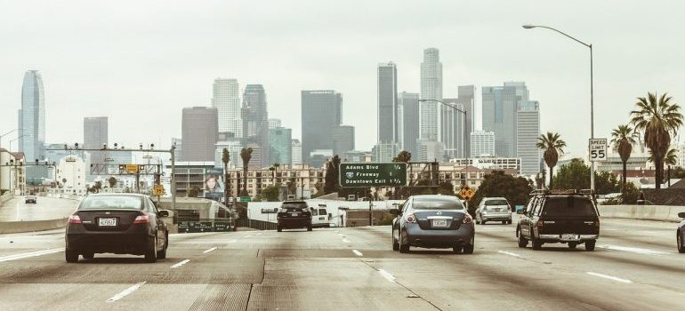 Highway in front of Los Angeles.