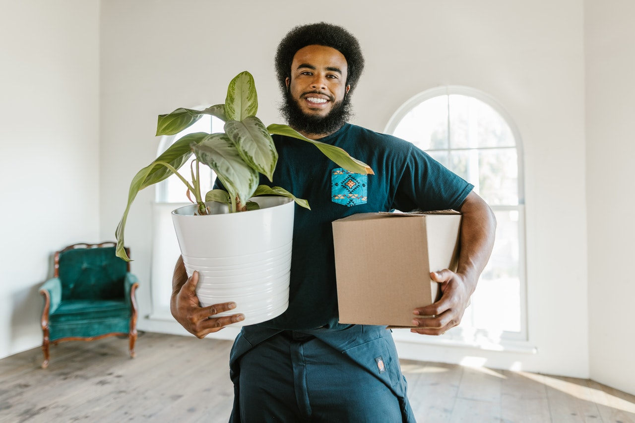 man holding a plant and a box is the first difference between DIY vs. professional unpacking service