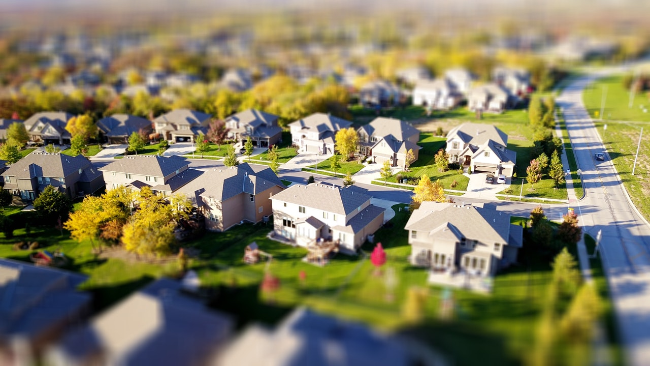 suburb with houses and lawns