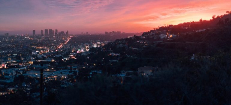 a picture of Los Angeles from the top of a hill with the city expanding over the horizon
