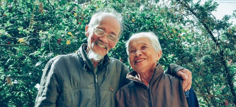 Two seniors smiling